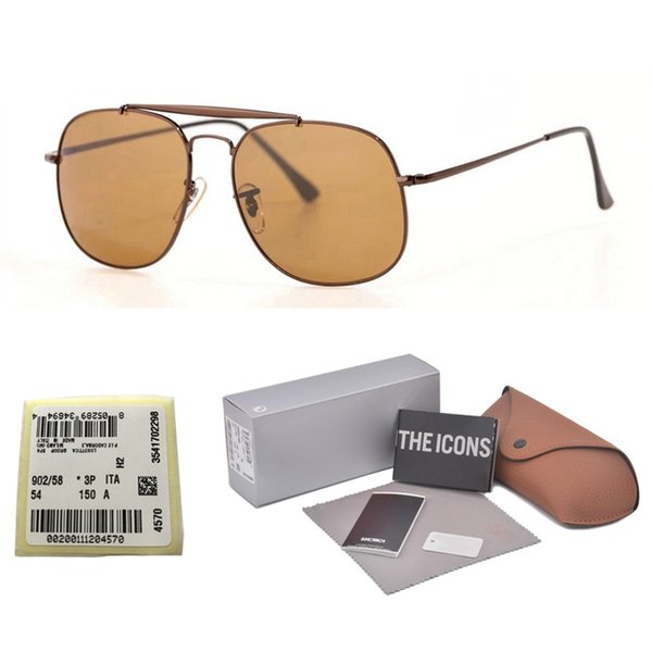 Top quality Glass lens Brand Designer Classic sunglasses men women metal frame Sport Vintage sun glasses With free cases and label