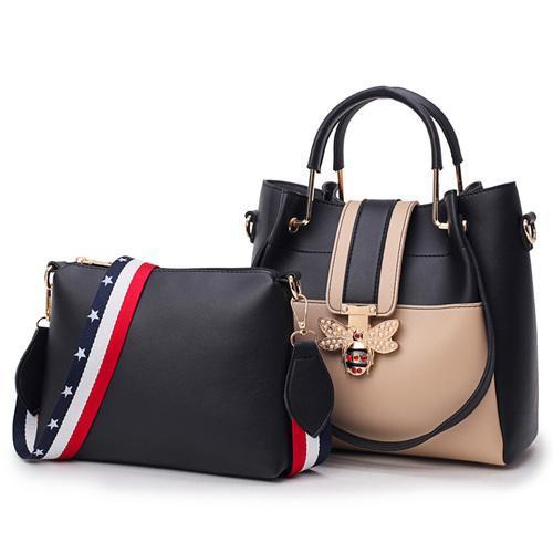 2019 Fashion Womens Bag Sets Bee Pearl Female Luxury Handbags Designer Big Ladies Shoulder Bag Famous Brands Leather Casual Tote
