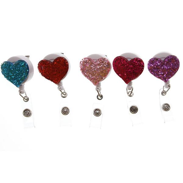 bling bling Día de San Valentín forma de corazón de diamante de imitación de color rosa Retractable id badge holder carrete