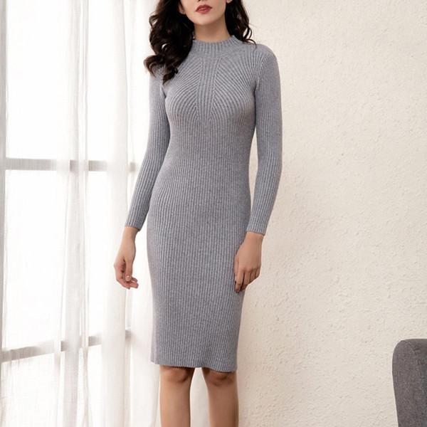 Women Female Bodycon Warm Dress Long Sleeve Robe Basic Knitted Dress Autumn Winter Thick Midi Sexy Slim Sweater Dress