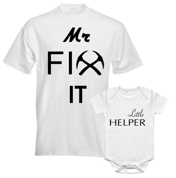 Sr. Fix It Little Helper Engineer Mechanic Daddy Fathers Papá Hijo a juego camiseta hombres mujeres Unisex moda camiseta envío gratis negro