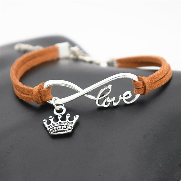 Metal Alloy Infinity Love Elegant King Crown Pendant Charm Bracelets Bangles New Fashion Customed Woven Brown Leather Rope Women Men Jewelry