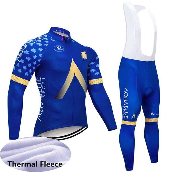 Aqua Blue team Cycling Winter Thermal Fleece jersey bib pants sets Hot Sale Men clothing Mountain Bike wear MTB U81536