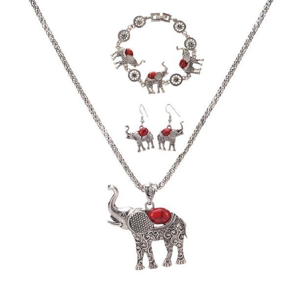 Bohemia Elephant Pendant Necklace Bracelet Earrings Set European and American Exaggerated Jewelry Three Piece Set Wholesale