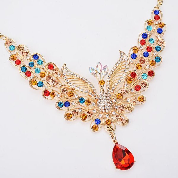 Personality Rhinestone Peacock Necklace 2019 Fashion Women Gold Color Alloy Crystal Choker Big Statement Necklace 6 Colors