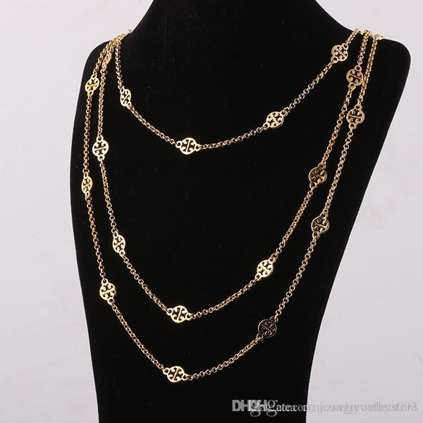 Top Brand brass material ornament hollow pendants in three layers gold and silver plated length of necklace 68cm/77cm/88cm for Women jewelry