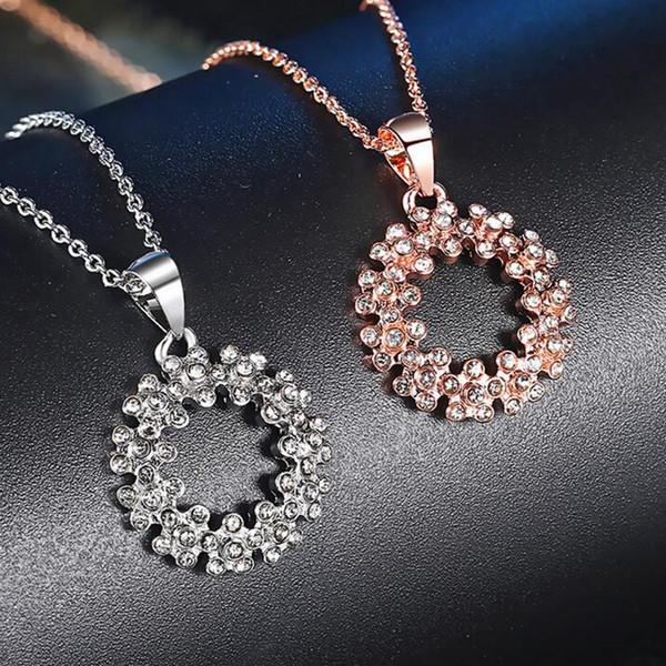 Novos acessórios de moda simples grinalda Pingente de Colar zircão rosa de ouro Cores jóias