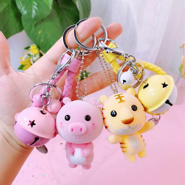 Authentic Cartoon 12 Zodiac Flocking Doll Keychain Cute Car Key Chain Bell Bag Pendant Gift Anime Bag Charm Pig KeychainSH190724