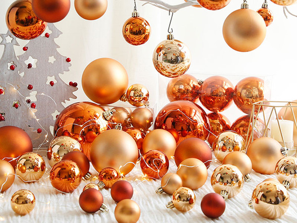 3-15cm Orange Christmas Balls Delicate Christmas Tree Ring Coffee Golden Party Wedding High Quality Decorations