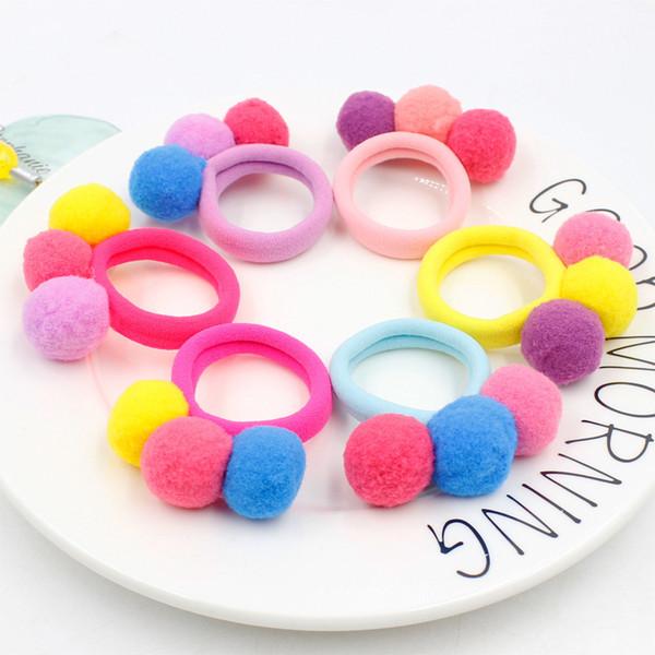 1pc Fashion Child Cute 3 Color Balls Elastics Hair Bands Gum Kids New Candy Rubber Bands Headwear Girl Hair Accessories Hot Sale
