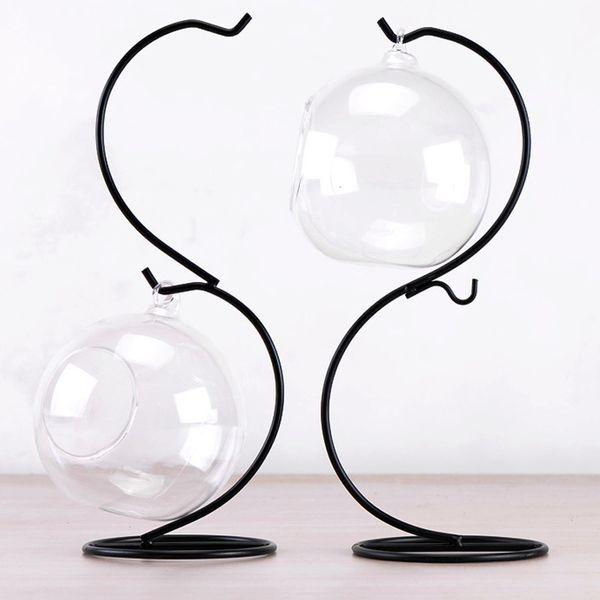 Micro Landscape Display Racks Hanging Candle Tea Light Holder DIY Glass Ball Hook Metal Iron Stand for Home Decor