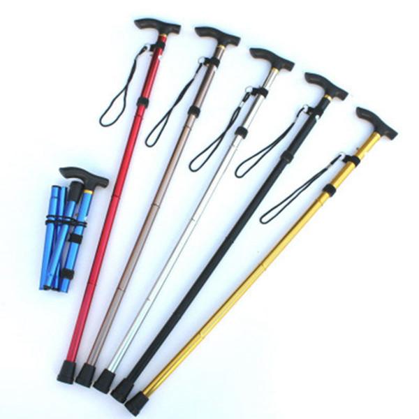 Adjustable Metal Folding Cane Aluminum Alloy Four Sections Telescopic Trekking Poles For Travel Old Man Walking Stick LJJZ408