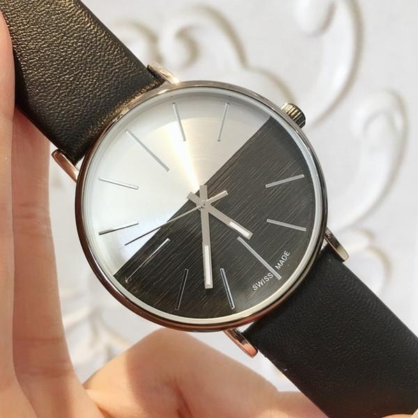 Hot Items 2019 Top Marca Man Relógio de Couro Famoso designer de 5 Cores preto Japão Movimento de Quartzo de Luxo Relógio de Preços Por Atacado transporte da gota