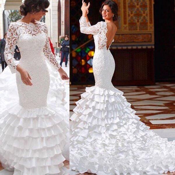 Vestido De Noiva Para O Dia Simples Sereia Vestidos De Casamento 2019 Jewel Neck Mangas Compridas Sem Encosto Em Camadas Saias Sweep Train Custom Made