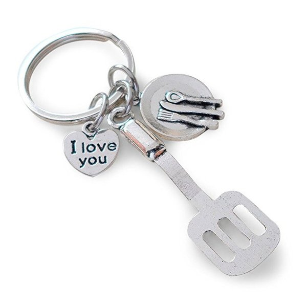 New Style Ancient Silver Kitchen Gadgets I Love You Heart Pendant Chef Keyring Keychain Europe United States Popular Hot Sale Jewelry Gifts