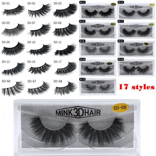 17 styles 3D Mink Eyelashes Eye lash Extension Sexy False Eyelashes Natural Thick Fake Eye lashes Full Strip Mink Eye Lashes Beauty Tools