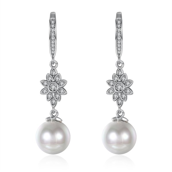 Simple Elegant Earrings Gifts Hanging Pearl Pendant Rhodium Plated Dangle & Chandelier Earring Accessories Romantic Christmas Gift POTALA102