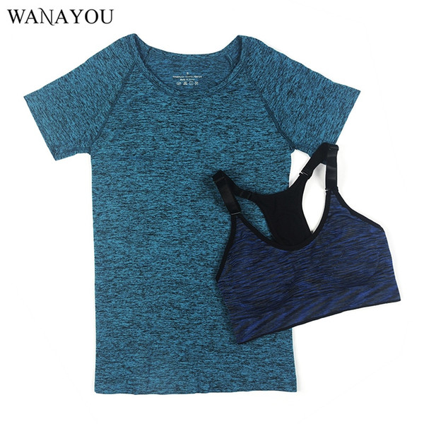 WANAYOU Women Quick Dry Yoga Set for Gym Running Short Sleeve Sports Top T-shirt+Bra Set Professional Workout Fitness Suit #180598