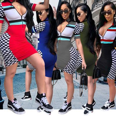 Womens Designer Dress Sexy Zipper V-neck Dresses Fashion Party Style Plaid Skinny Clothes Casual Striped Bodycon for Ladies 2019 Summer