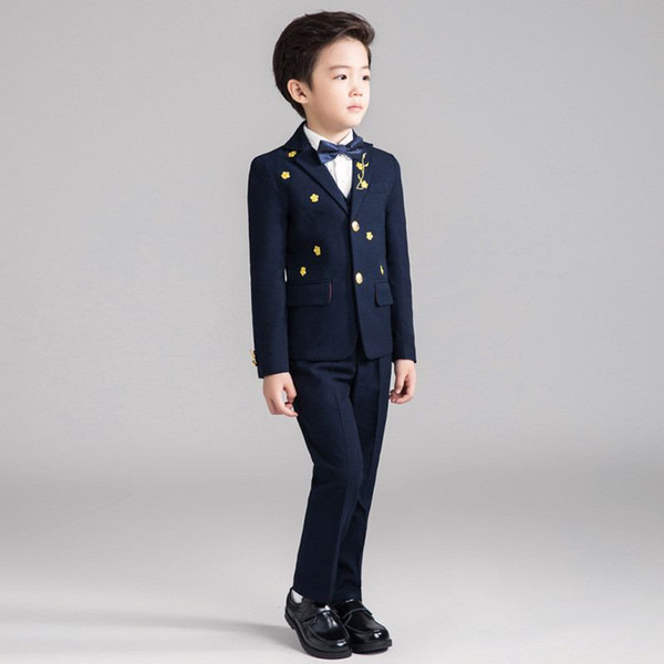 New Baby Boy Suit For Wedding Piano Party Teenage Boys Blazer+Vest+Pant+Shirt+Bowtie 5Pcs Kids Boys Suits Formal Clothes Set Y98