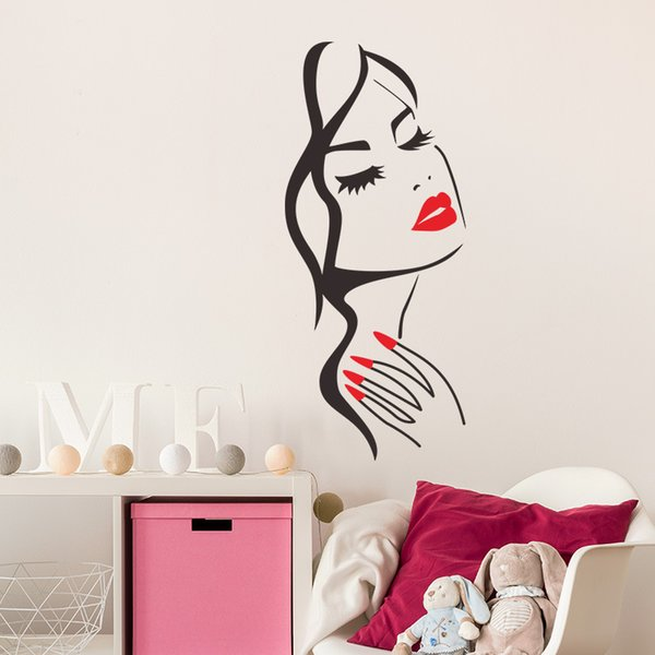 Beauty DIY Vinyl Wall Sticker Salon Decor Red Lip and Finger Woman Face Wall Art for Living Room Girls Room and Salon Decoration