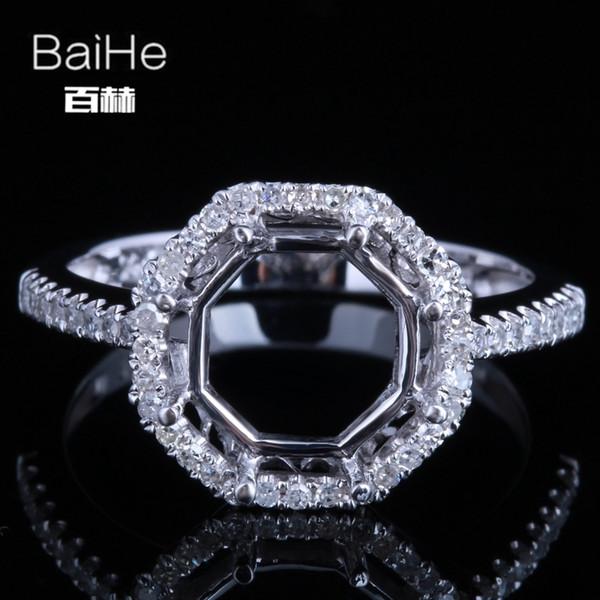 BAIHE Sólidos 14 K Ouro Branco (AU585) Certificado de Casamento Mulheres Bonito / Romântico Fine Jewelry Elegante exclusivo Semi Montar Moda Anel C18122801