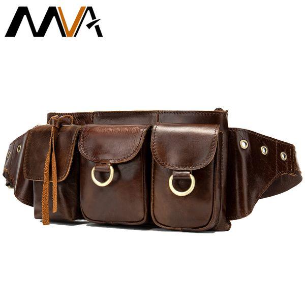 Men Genuine Leather Fanny Pack Waist Belt Bags Travel Hip Belts Cell Phone Case Purse Leather Belt Pouch Bag Mens Messenger 8592