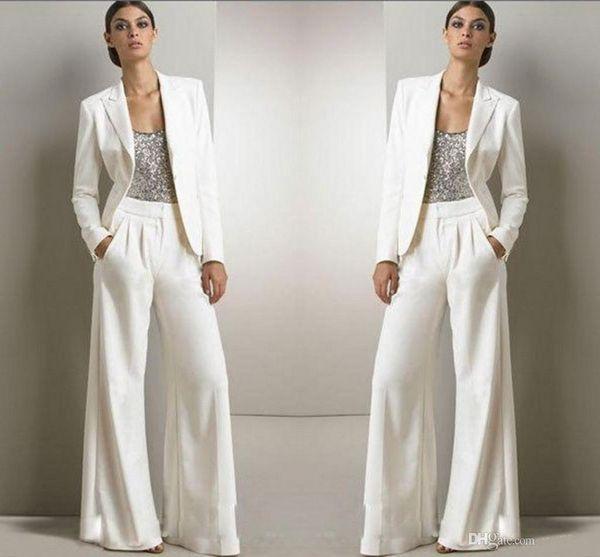 2020 Yeni Bling Pullarda Fildişi Beyaz Pantolon Suit Gelin Elbise Biçimsel şifon Smokin Kadınlar Parti Giyim Moda Modest balo Anası