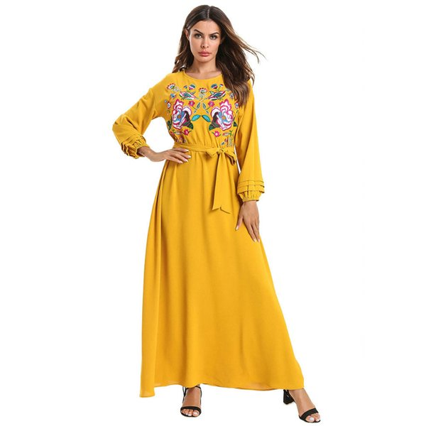 Spring Fashion Women Long Sleeve O Neck Flower Embroidery Yellow Casual  Elegant Ladies Party Plus Size Long Maxi Dress Pullover Vestido Long Short  ...