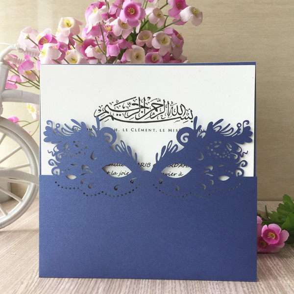 Invitations Card With Hollow Mask Pattern Laser Cut Wedding Invitations Greeting Cards Party Supplies Wedding Invitation Wording Examples Wedding