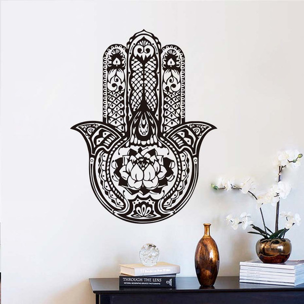 1 Pcs Lotus Hamsa Hand Wall Decals stickers Vinyl Home Decor Removable Adhesive Indian Buddha Wall Sticker for Living Room