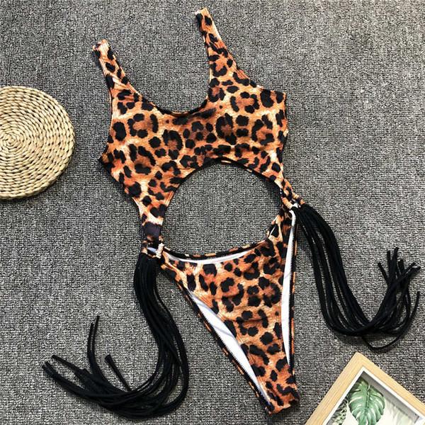 Leopard brazilian one piece swimsuit String monokini Sexy High cut bikini 2019 Push up swimwear Tassel one-piece suits swim suit