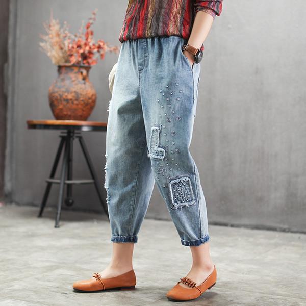 Jeans de verão Retro Mulheres Cintura Elástica Fino-tipo Denim Calças Novas Senhoras Bordado bolso Rasgado Senhoras Streetwear Calças