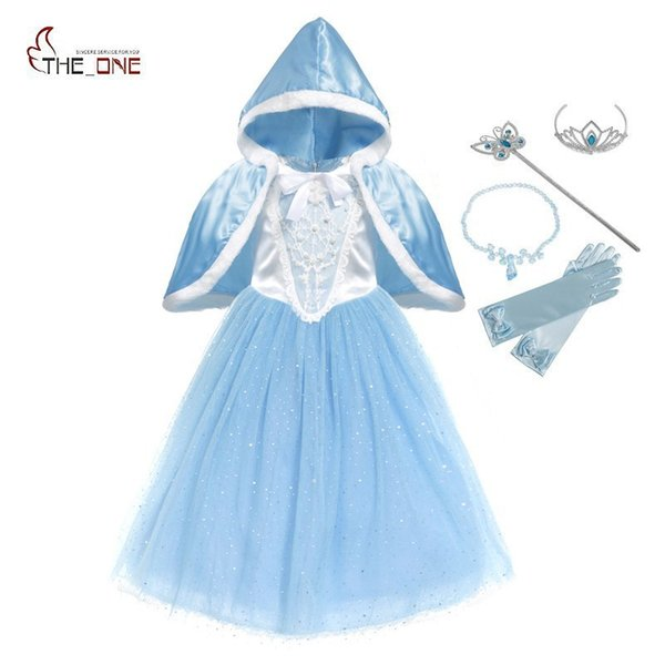 Muababy Girls Cinderella Dress Sequined Deluxe Puff Sleeve Princess Cosplay Costume With Cape Kids Prom Party Birthday Clothing J190505
