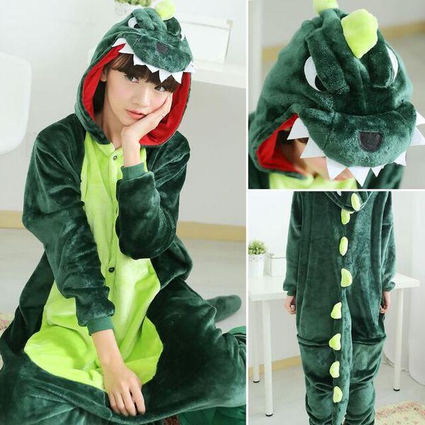 Adulto Dinossauro Kigurumi Onesies Animal Dos Desenhos Animados Cosplay Pijama Terno Flanela Macia Macia Sleepwear Macacões Vermelho Roxo Rosa Verde