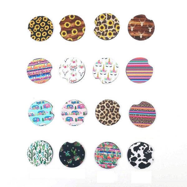 Neoprene Leopard Car Coaster Wholesale Blanks Sunflower Cup Mat Cactus Bottle Holder Great Home Decorate Cover DOM1237