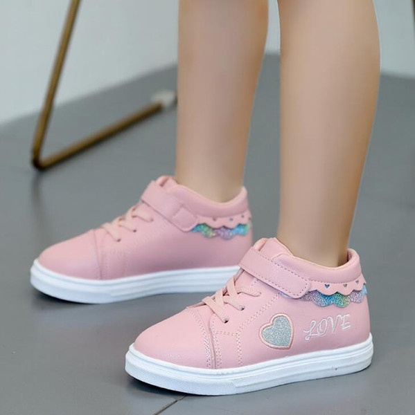 NM01 Girls Sneakers Kids Shoes Autumn Winter Pink PU Waterproof Soft Black Children Casual Shoes Girls White Sneakers