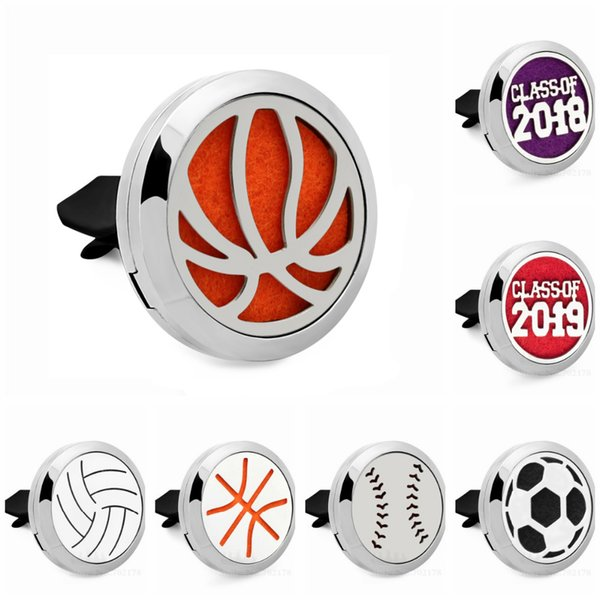 New basketball football 30mm Perfume Diffuser Locket Car vent clips Essential Oil Aroma locket clip Magnetic 10 Pad random