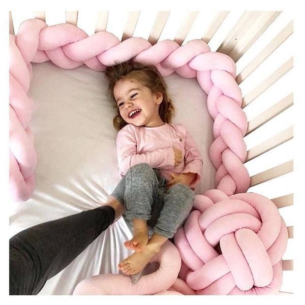 1 M / 2 M / 3 M Comprimento Newborn Baby Bed Bumper Puro Tecelagem De Pelúcia Nó Berço Bumper Crianças Cama Berço Protetor de Bebê Decoração Do Quarto Do Bebê