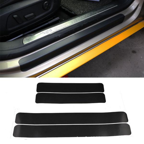 4 PCS 60x6.7 cm Adesivos de Carro Universal Scuff Sill Anti Scratch Fibra De Carbono Auto Porta Adesivos Decalques Acessórios Do Carro