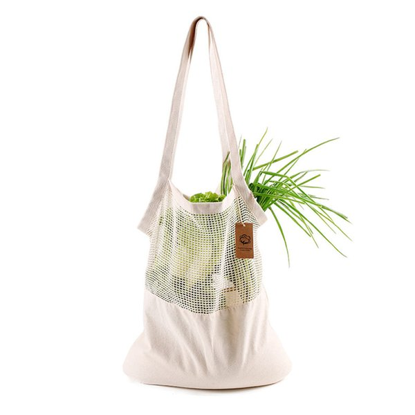 High Capacity Cotton Blend Eco-friendly Home Mesh Fruit Vegetable Solid Reusable Shopping Bag Single Shoulder Washable Grocery