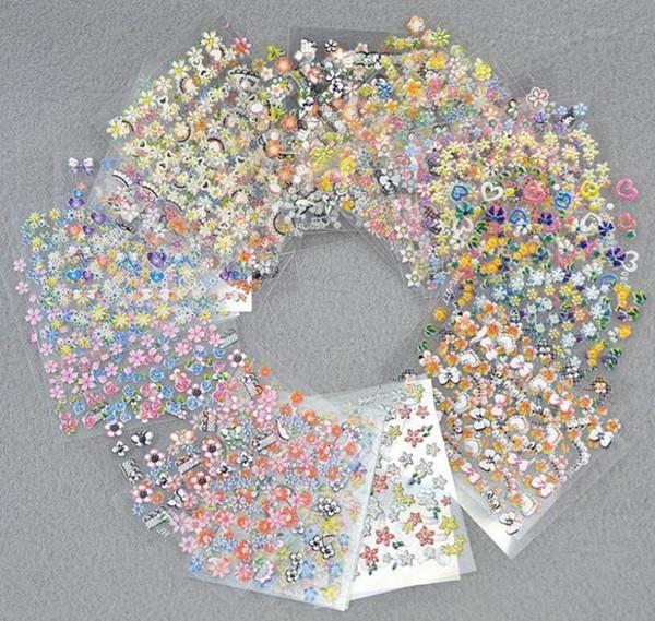 3D Nail Art Stickers Mix Color Floral Diseño Calcomanías Manicura Hermosa Moda Accesorios Decoración 50 unids / set MMA1236