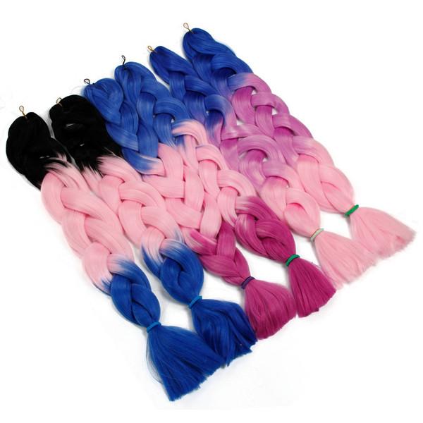 32inches(82cm) Synthetic Jumbo Braids Kanekalon Hair Braiding Ombre Crochet Braids False Pink Hair Extensions 165g/Pack