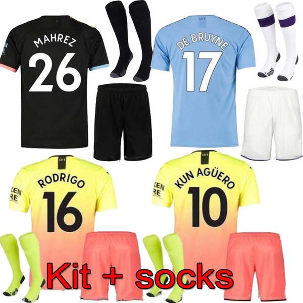 19 20 Manchester FC Maglie da calcio City 2019 2020 DE BRUYNE KUN AGUERO Kit STERLING Uniforme da calcio per bambini G.JESUS uniformi per maglietta