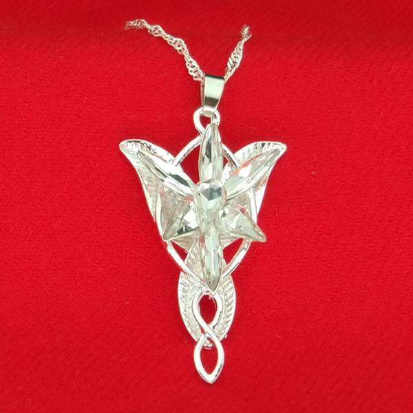 Senhor do anel Arwen estrela colar de prata e branco pingente Evenstar com corrente de prata moda Jewlery