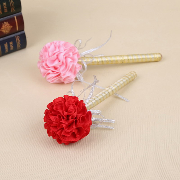 Sign In Pen For Wedding Party Gold Pencil Lead Fashion Rose Flower Ball Office Supplie Metal Rubbion Handwork Bold Handwriting Hot