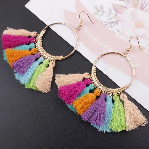 Pendientes de borla de moda anillo grande creativo Fringe gota de la oreja 16 colores hechos a mano accesorios de moda pendientes de borla bohemio