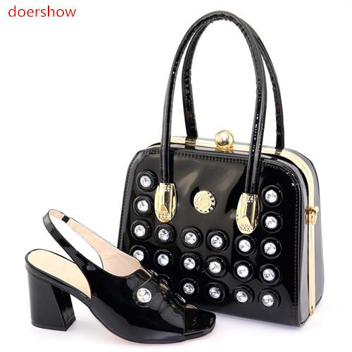 Fashion Party Shoes And Clutch Bags To Match Set African Super High Heels Sandals for New Year Party DN1-2