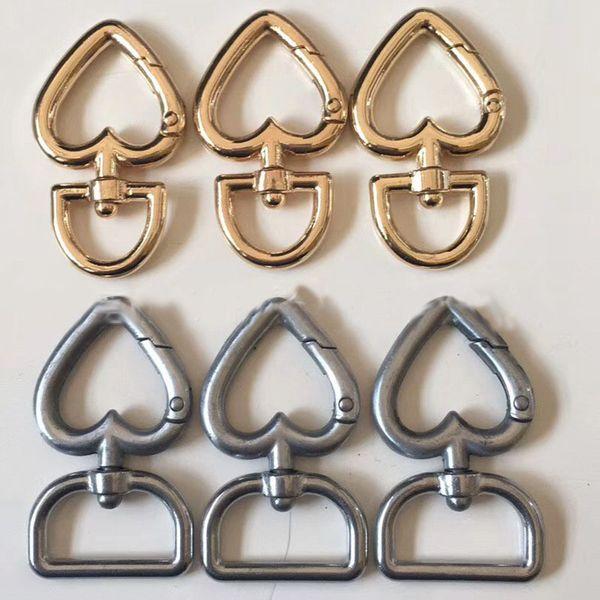 Coeur En Métal Boucles Pour Sac À Main Sangle De Courroie Crochets À Cliquet Chien Collier Pivot Trigger Clips DIY Artisanat WX9-1283