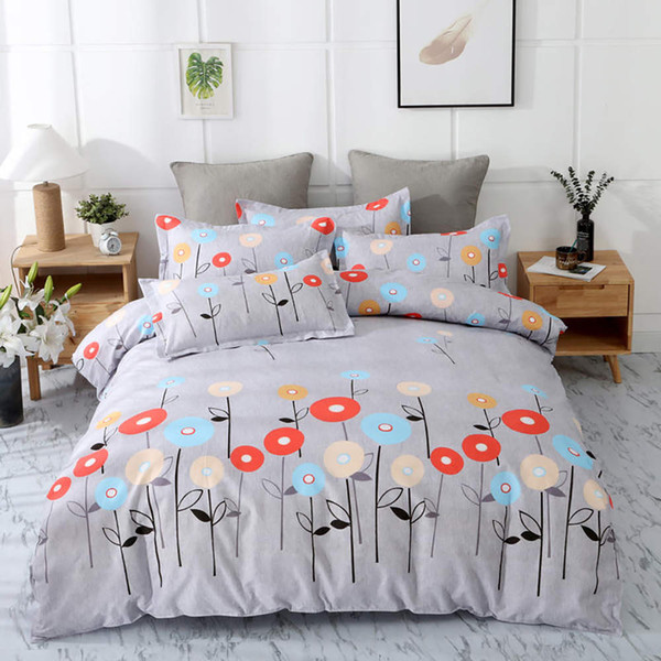 Floral Bedding Set King Size Simple Soft Beautiful Duvet Cover Grey Queen Single Double Full Twin Soft Bed Cover with Pillowcase
